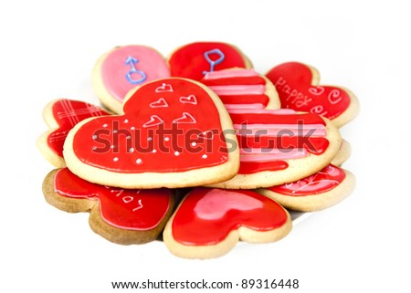 valentine's day cookies on a white background