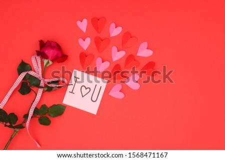 Valentine's day decoration on red background - Happy Valentine's day