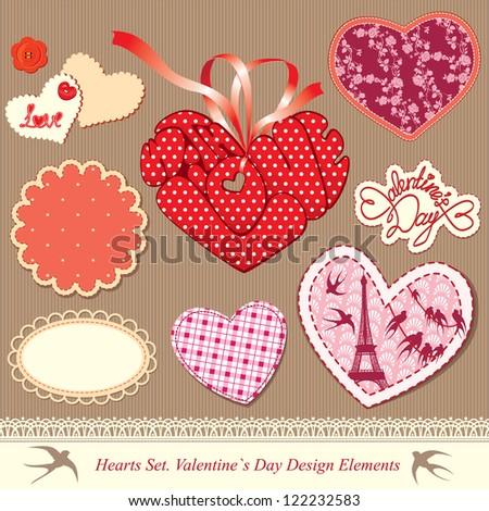 valentine's day design elements - different hearts. Raster Version
