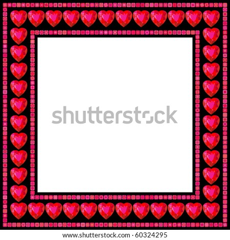 Valentine's Day frame with red ruby hearts on black background