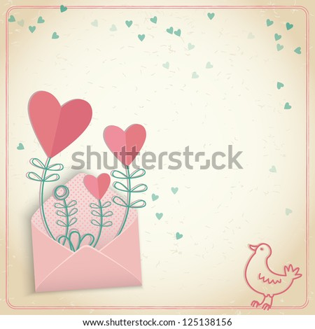 Valentine's day gift card. Seamless doodle hearts. Valentine's day.  Illustration, , contains transparencies.