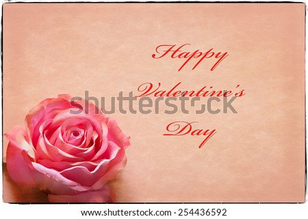 Valentine\'s Day Greeting card with text, pink rose, soft border, and an antique look.