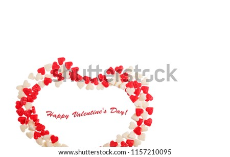Valentine's Day. Heart made of caramel isolated on white background