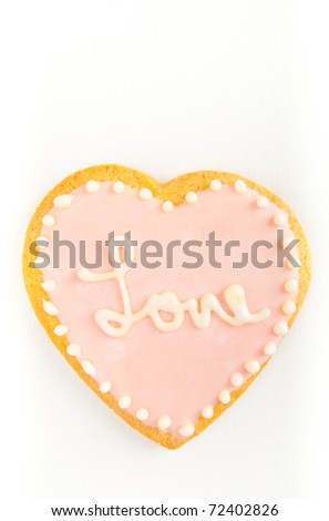 Valentine's Day Heart Shaped Cookie on White