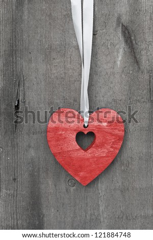 Valentine''s day heart shaped ornament decoration on rustic style background