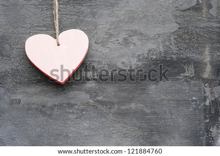 Valentine\'\'s day heart shaped ornament decoration on rustic style background