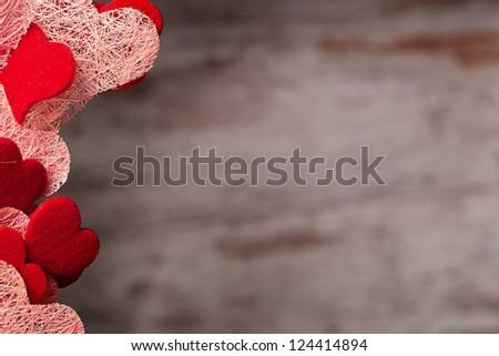 valentine's day hearts over grunge wood