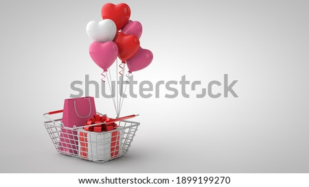 Valentine's Day, International Women's Day shopping and sale template. 3d illustration. Shopping basket, present , shopping bag and heart shaped balloons on white background Stok fotoğraf ©