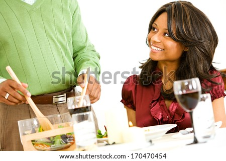 stock photo: couple having romantic dinner