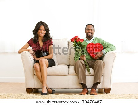 stock photo: couple on couch