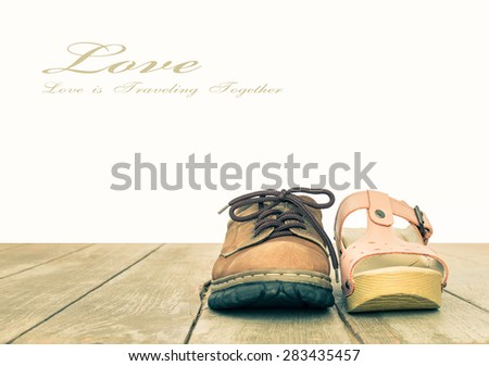 Valentine's day or love and romantic concept background in vintage style for loving or relationship or wedding design consist of Man's shoes and Woman's shoes  on wood floor in front view #283435457