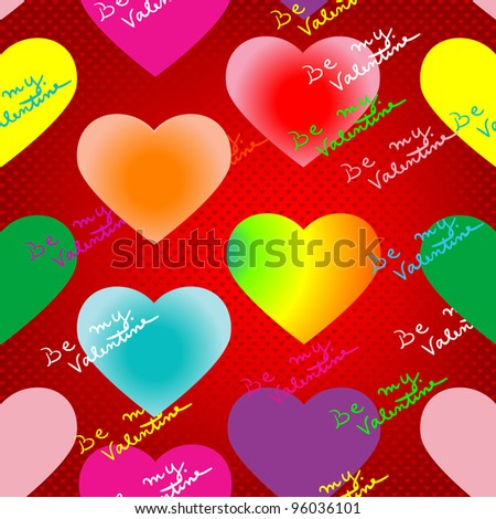 valentine's day pattern with neon glow hearts, lightened text and pop art background