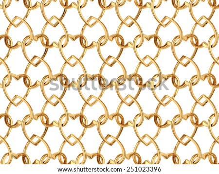 Valentine's day pattern with seamless golden jewelry hearts isolated on white background. 3d render repeating texture
