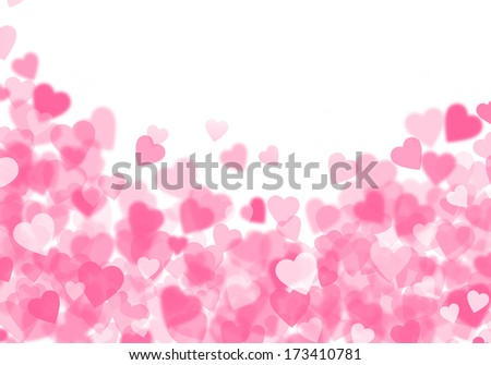 Valentine's day pink hearts bokeh background with copy space