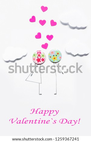 Valentine's Day. Postcard with a couple in love, heart, .Creative art idea, festive white background #1259367241