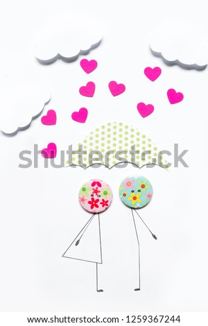 Valentine's Day. Postcard with a couple in love, heart, .Creative art idea, festive white background #1259367244