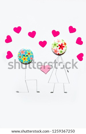 Valentine's Day. Postcard with a couple in love, heart, .Creative art idea, festive white background #1259367250