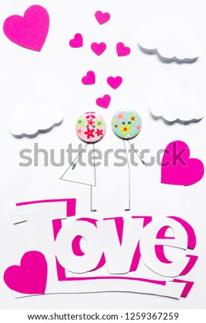 Valentine's Day. Postcard with a couple in love, heart, .Creative art idea, festive white background #1259367259