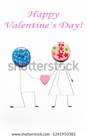 Valentine's Day. Postcard with a couple in love, heart, .Creative art idea, festive white background #1261950382