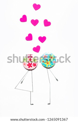 Valentine's Day. Postcard with a couple in love, heart, .Creative art idea, festive white background #1265091367