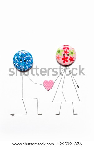 Valentine's Day. Postcard with a couple in love, heart, .Creative art idea, festive white background #1265091376