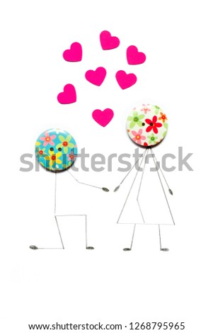 Valentine's Day. Postcard with a couple in love, heart, .Creative art idea, festive white background #1268795965