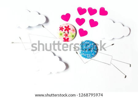 Valentine's Day. Postcard with a couple in love, heart, .Creative art idea, festive white background #1268795974