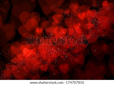 Valentine's day red hearts bokeh background
