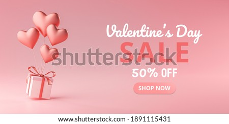 Valentine's Day Sale Heart Shape Ballon Carrying Gift Box 3D Rendering