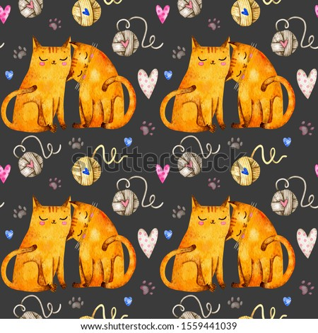 Valentine's day seamless pattern with cats and clues. Watercolor Valentine's day repeated pattern with cats in love. Valentine's day background.