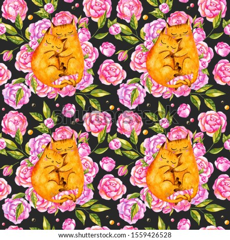 Valentine's day seamless pattern with cats and peonies. Watercolor Valentine's day repeated pattern with cats in love. Valentine's day background.