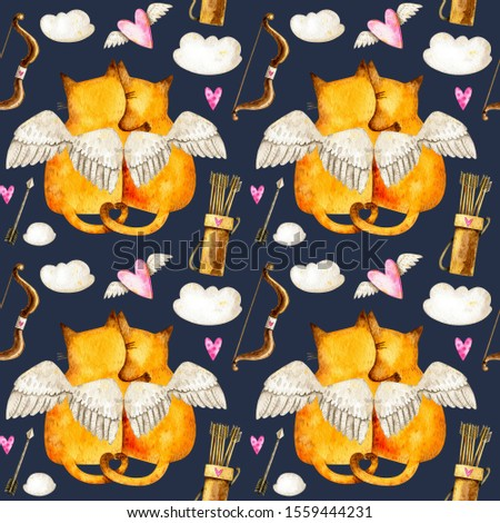 Valentine's day seamless pattern with cats with wings, clouds, arrows, bows and hearts. Watercolor Valentine's day repeated pattern with cats in love. Valentine's day background