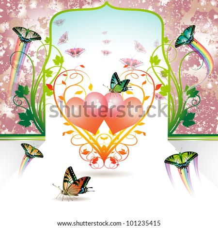 Valentine's day, Springtime love with butterflies