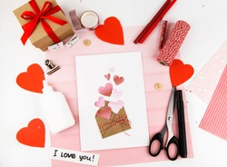Valentine's Day. Step by step instructions for making a gift for the holiday of lovers. Step 8 ready postcard