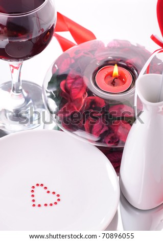 Valentine's dinner waitnig for couple, present and candle included