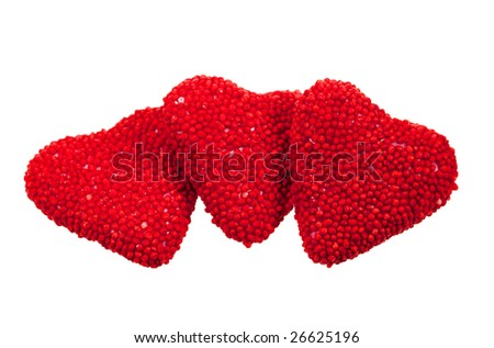 valentine's hearts candy, isolated on a white background