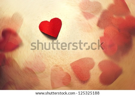 Valentine's paper heart scene, Valentine's day background - stock photo