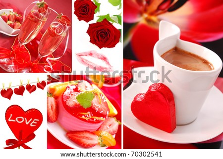 valentine`s party and love symbols  photos  arranged as collage