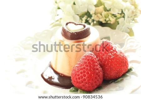 Valentine's sweet dessert with heart shape chocolate