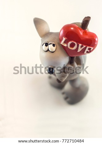 Valentine's toy gray mouse with a red heart Love #772710484