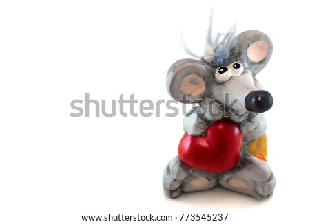 Valentine's toy gray mouse with a red heart Love #773545237