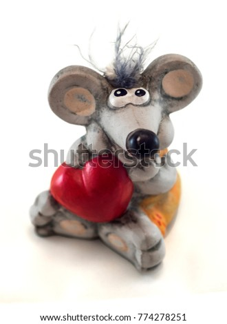 Valentine's toy gray mouse with a red heart Love #774278251