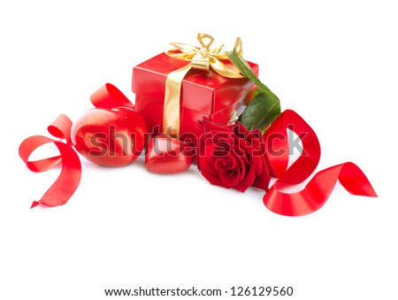 Valentine. Valentines Hearts, Rose Flower and Gift Box isolated on white Background. Red Valentine's Day Composition