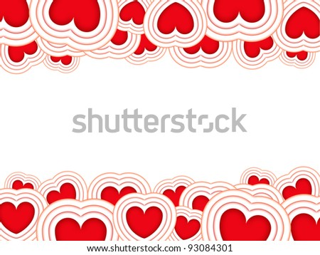 Valentines background with red hearts isolated on a white background