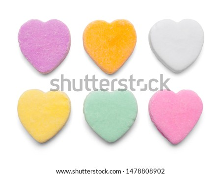 Valentines Candy Hearts Isolated on White Background. Сток-фото ©