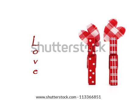 Valentines cards with two hearts and place for text