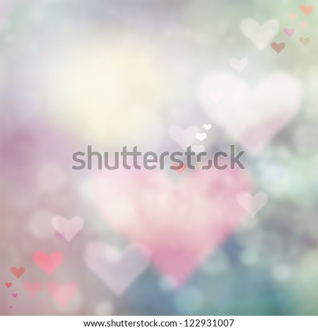 Valentines day abstract  background with bokeh lights and hearts.