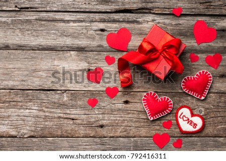 Valentines Day Background Red Hearts Ribbon And Gift Box On