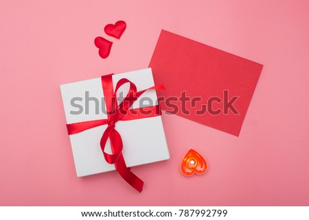 Valentines day background, Valentines day card and gift box on pink background #787992799