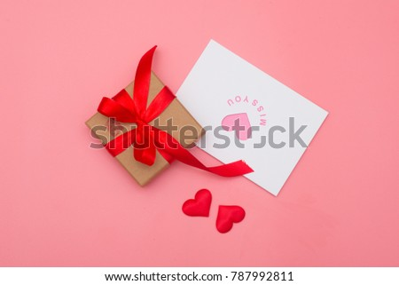 Valentines day background, Valentines day card and gift box on pink background #787992811